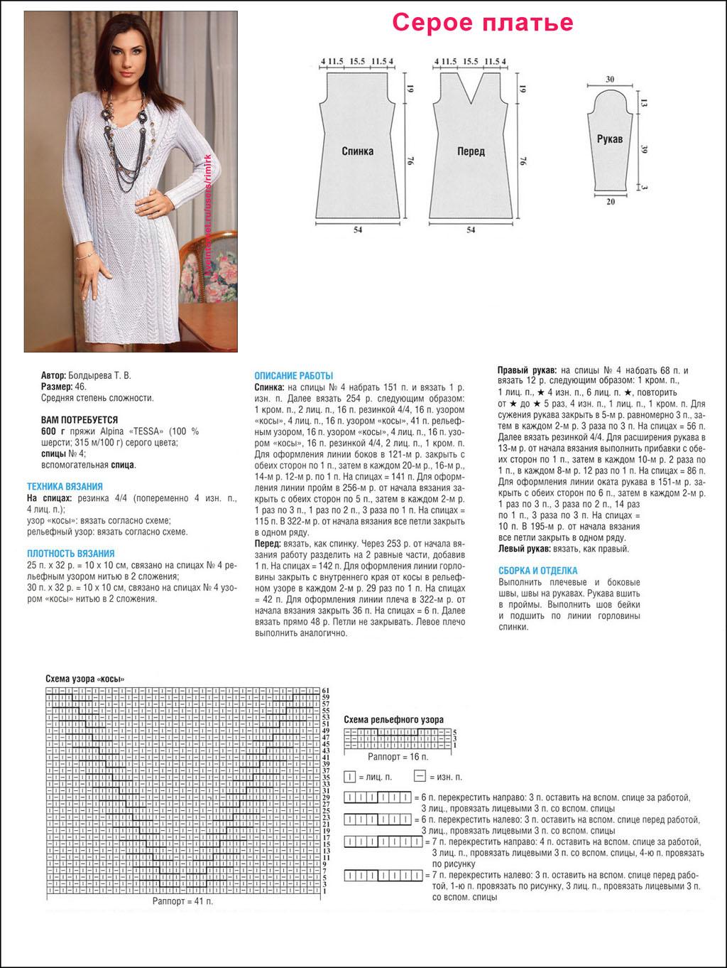 Вязание спицами для женщин модные платья с описанием