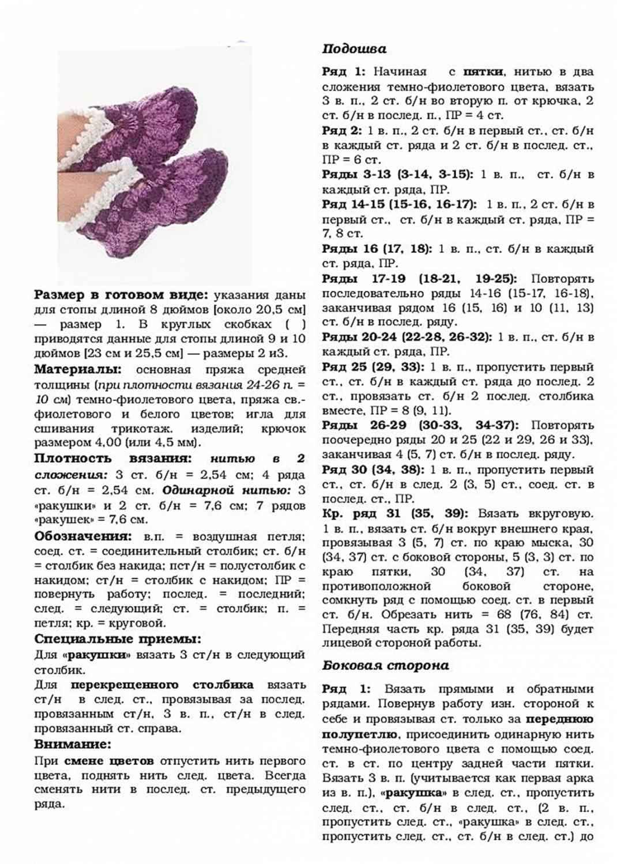Тапочки спицами с описанием и фото схемы