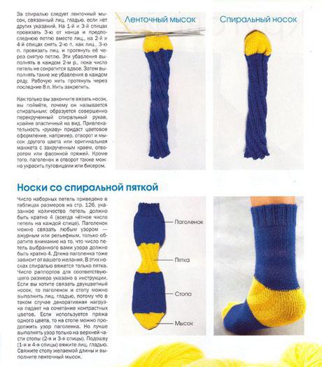 Вязание носок спираль схема