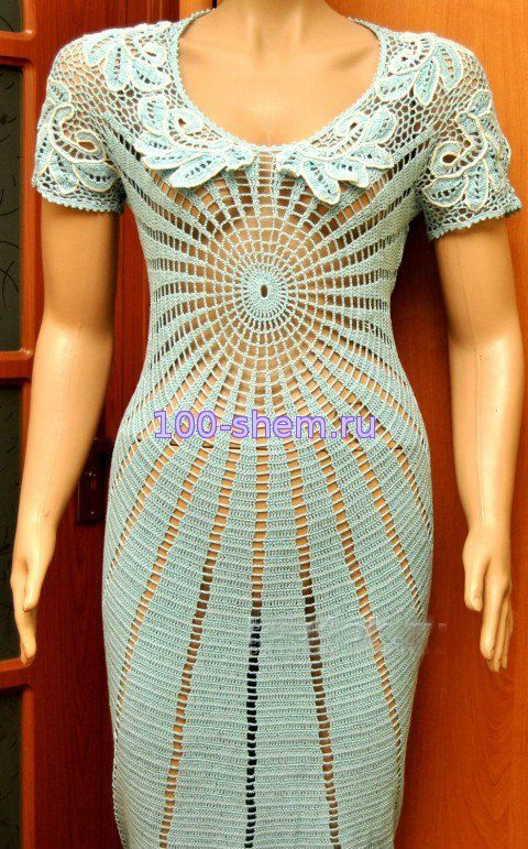 Крючком вязание платья по кругу